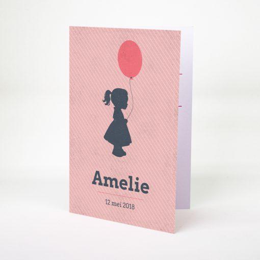 Geboortekaartje Silhouettes Meisje met ballon