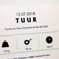 Geboortekaartje op karton Boot detail