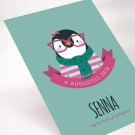 Geboortekaartje Hipster Pinguin