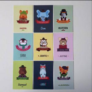 Collectie hipster geboortekaartjes